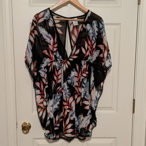 kona sol Other - Black Tropical Print Cover Up